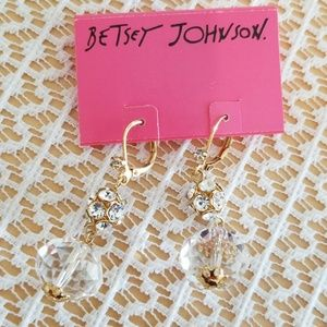 Betsey Johnson clear crystal dangles